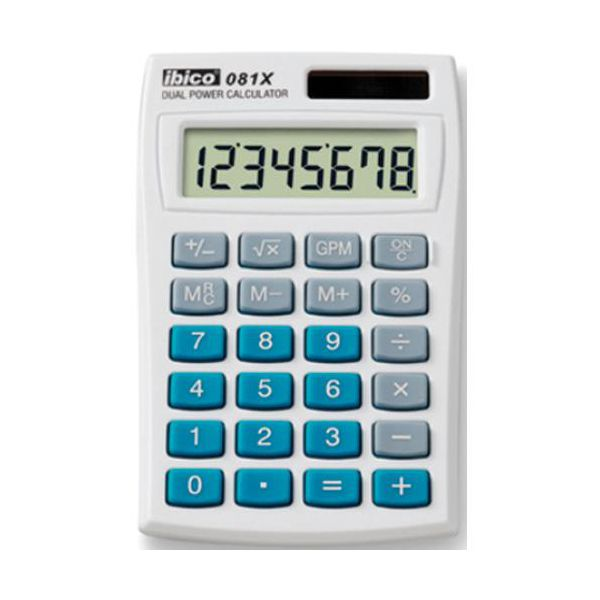 1 piece calculatrices de poche calculatrice ibico 081x. Black Bedroom Furniture Sets. Home Design Ideas
