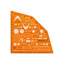 RUMOLD Ausbildungsschablone 2915 155x155x1,2mm orange transparent