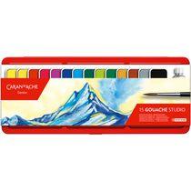 CARAN d'A Gouache Studio Wasserfarben 1000.315 14 Farben, 1 x weiß + Pinsel