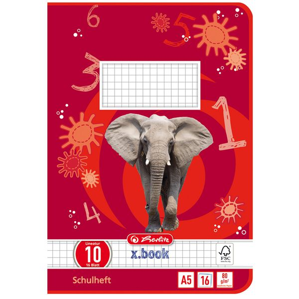 3 Schulhefte Lineatur DM DIN A5 je 16 Blatt liniert mit Rand Elefant Schulheft