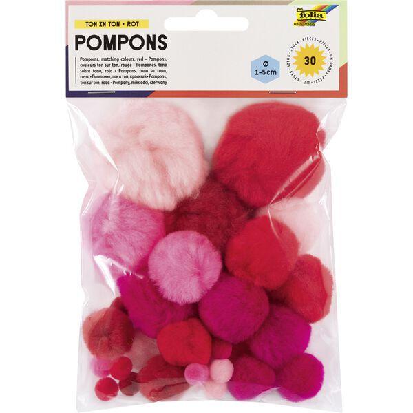 Größen sortiert Folia Pompons 30 Stück Pastellfarben