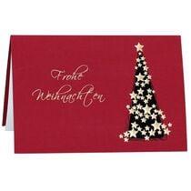 """RÖMERTURM Weihnachtskarte """"Goldener Sternbaum"""", rot"""