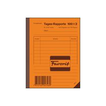 FAVORIT Tages-Rapporte A6 100x2 weiss/weiss mit Kohlepapier